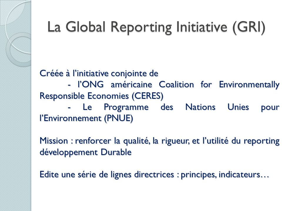 La Global Reporting Initiative (GRI)