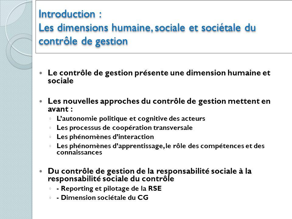 Introduction : Les dimensions humaine, sociale et sociétale du contrôle de gestion