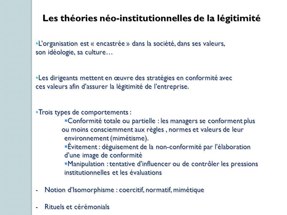 Les théories néo-institutionnelles de la légitimité