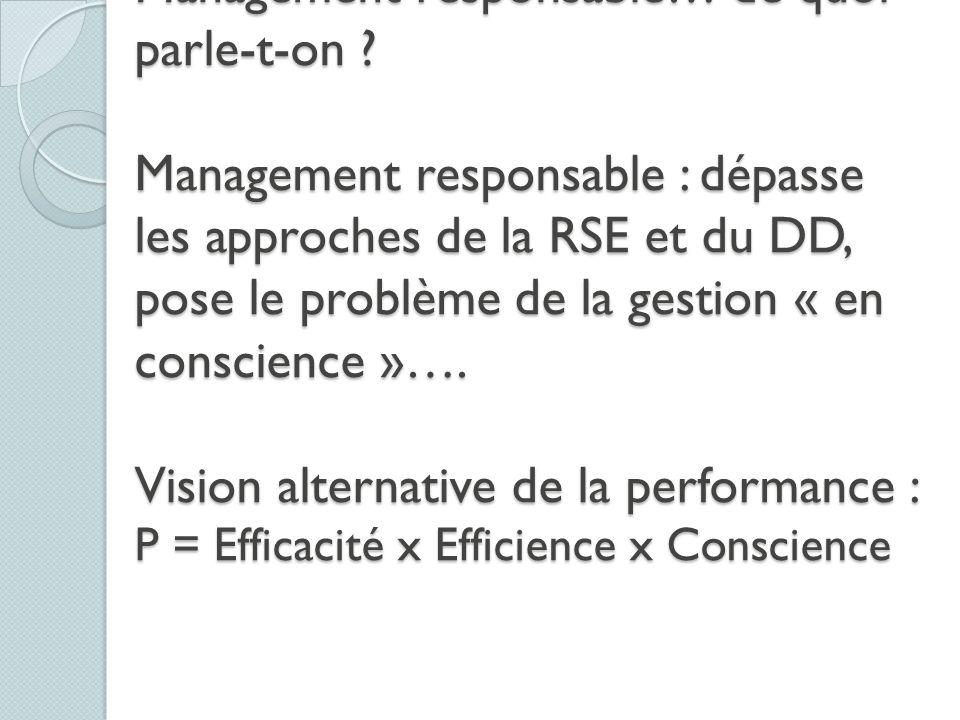 RSE, Développement durable et Management responsable… de quoi parle-t-on .
