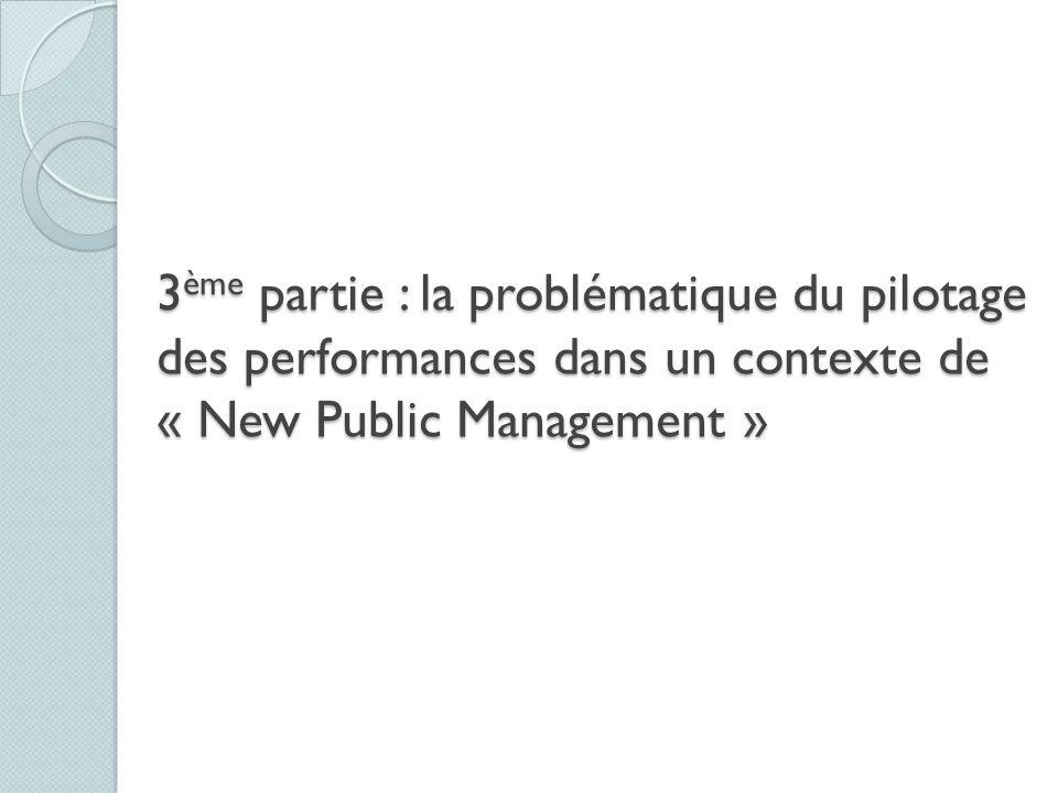 3ème partie : la problématique du pilotage des performances dans un contexte de « New Public Management »