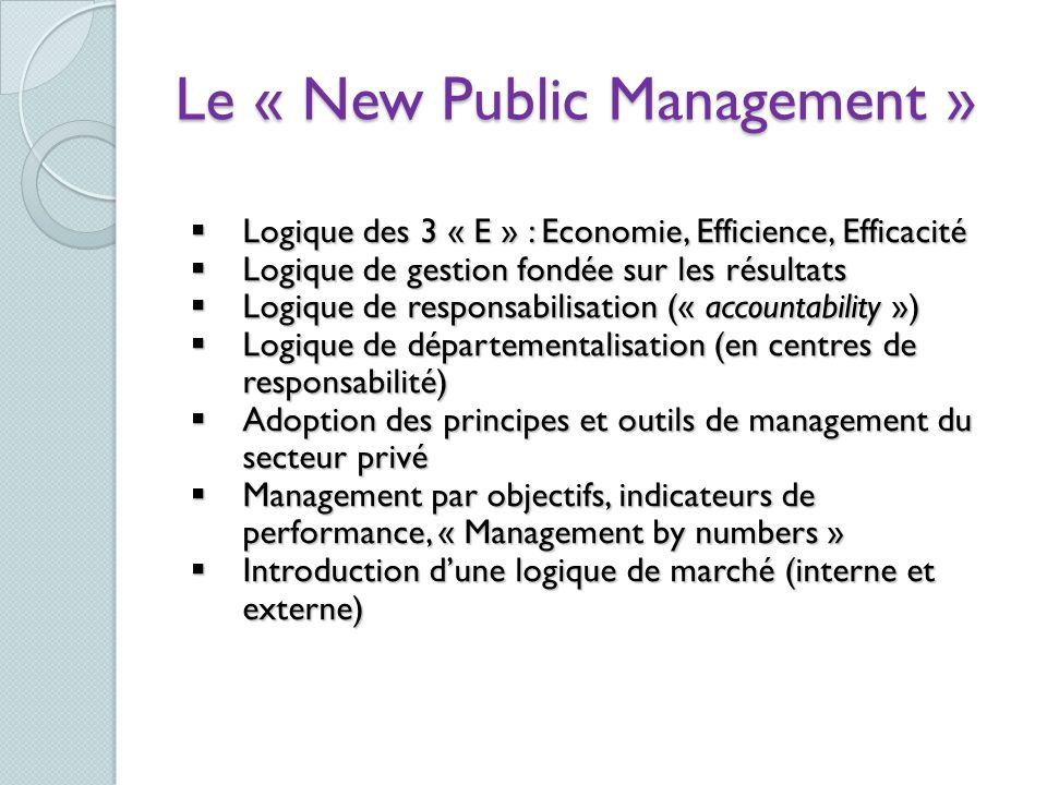 Le « New Public Management »