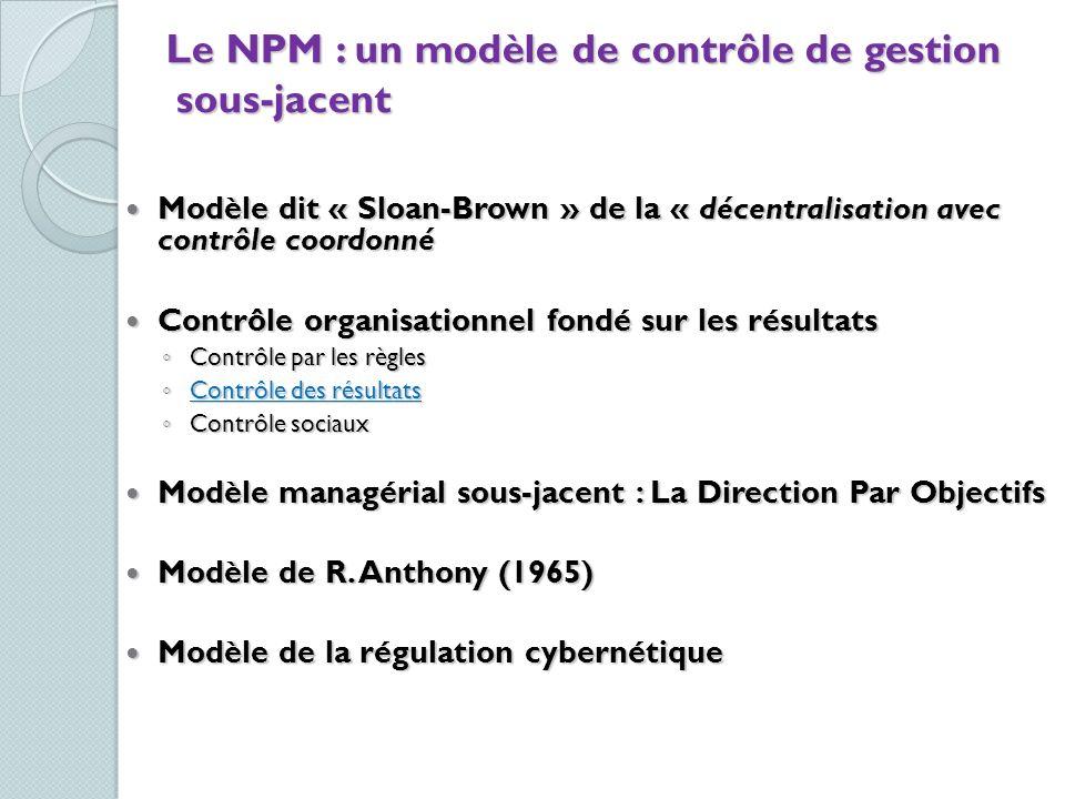 Le NPM : un modèle de contrôle de gestion sous-jacent