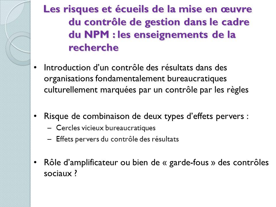 Les risques et écueils de la mise en œuvre du contrôle de gestion dans le cadre du NPM : les enseignements de la recherche