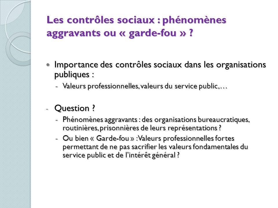 Les contrôles sociaux : phénomènes aggravants ou « garde-fou »
