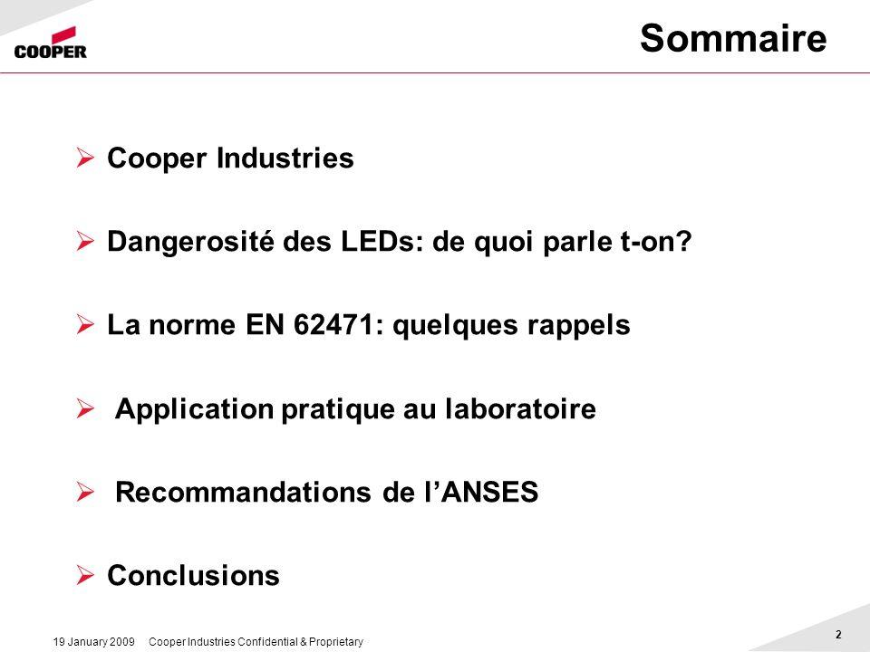 Sommaire Cooper Industries Dangerosité des LEDs: de quoi parle t-on