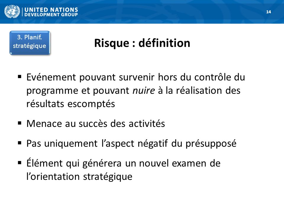 14 Risque : définition. 3. Planif. stratégique. 1. Road Map.