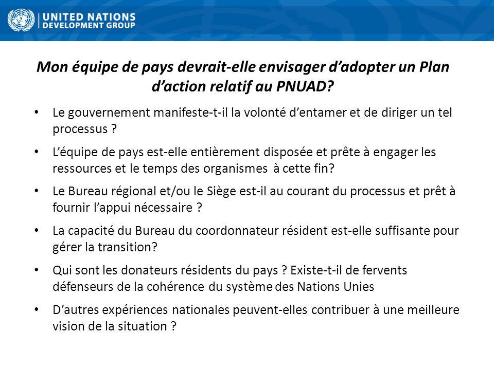 Mon équipe de pays devrait-elle envisager d'adopter un Plan d'action relatif au PNUAD