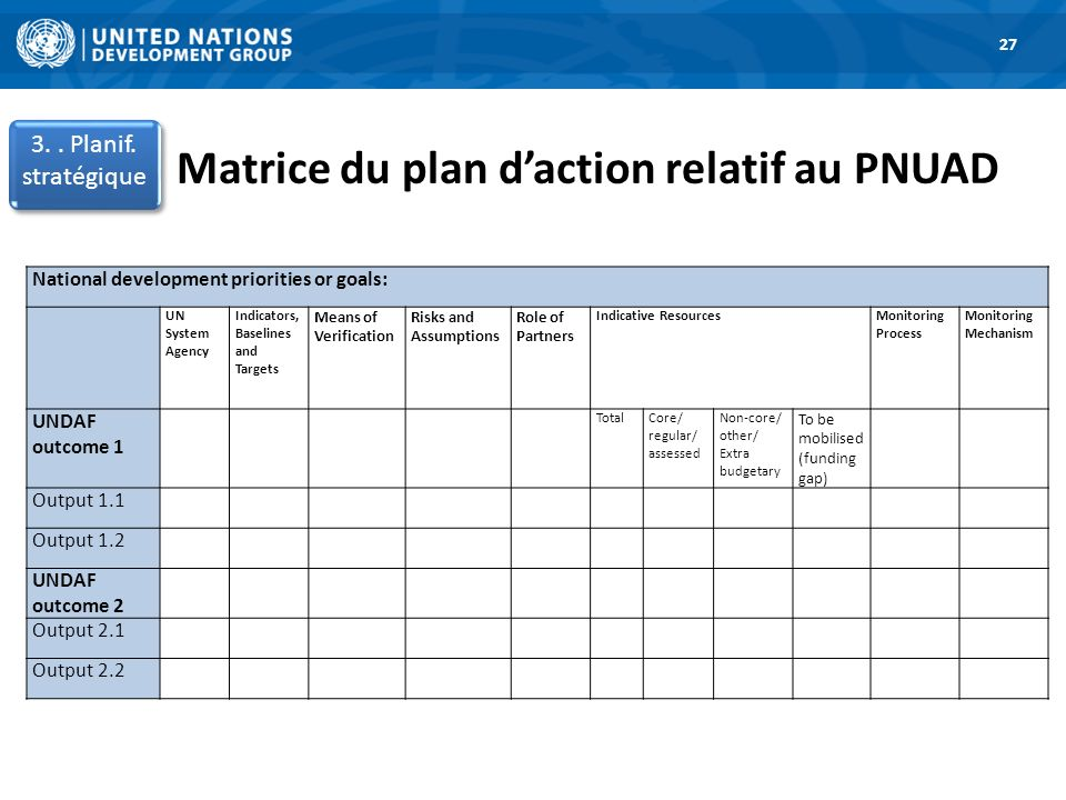 Matrice du plan d'action relatif au PNUAD