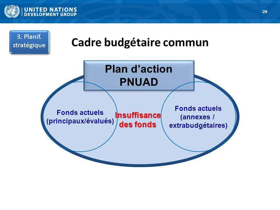 Cadre budgétaire commun (principaux/évalués) Insuffisance des fonds
