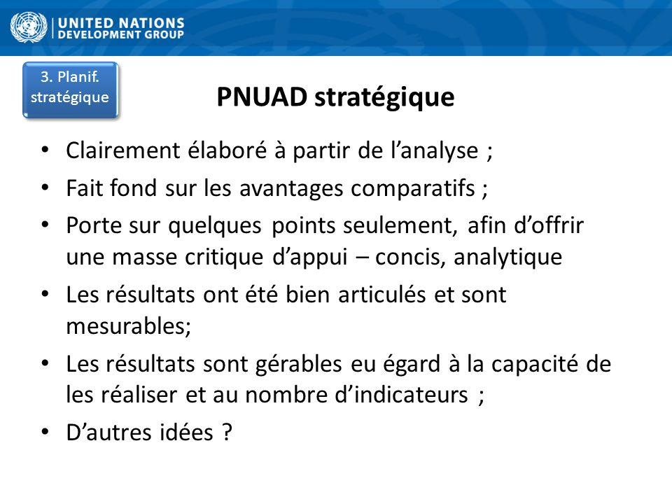 PNUAD stratégique Clairement élaboré à partir de l'analyse ;