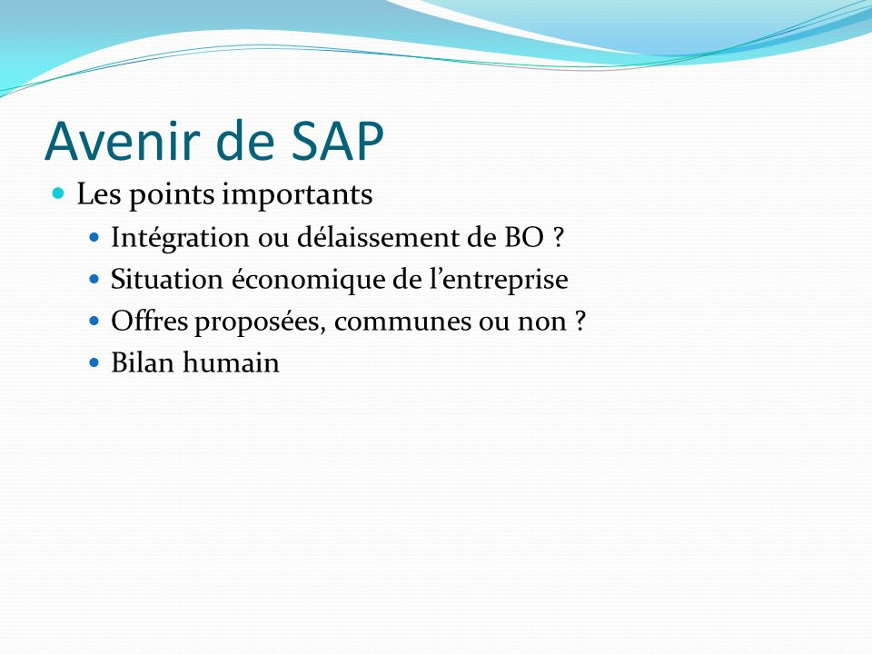 Avenir de SAP Les points importants
