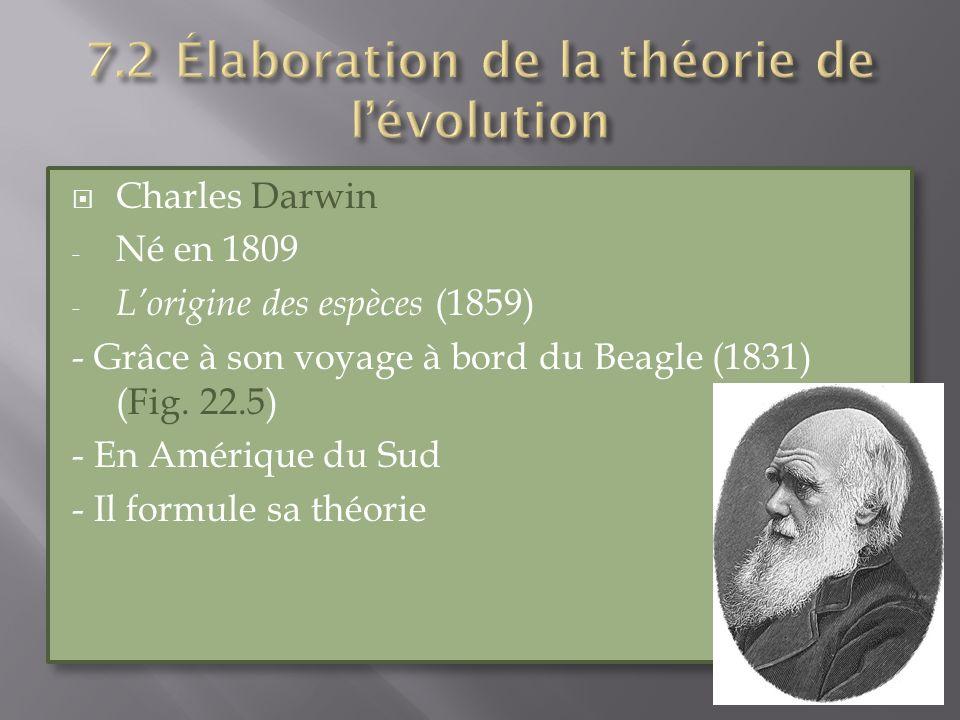 7.2 Élaboration de la théorie de l'évolution