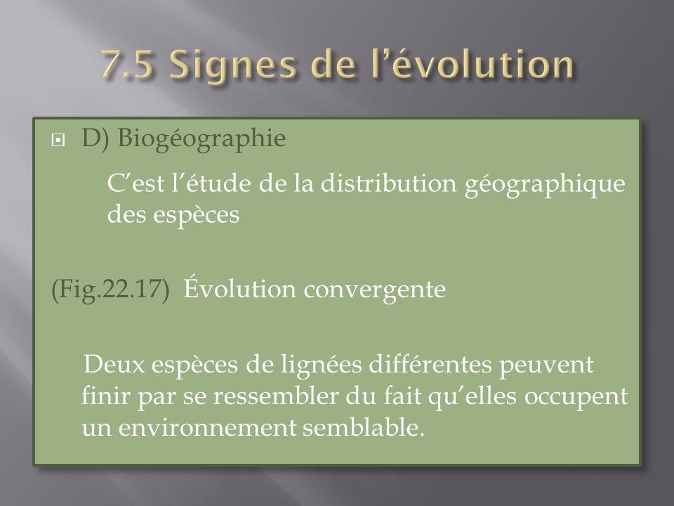 7.5 Signes de l'évolution D) Biogéographie