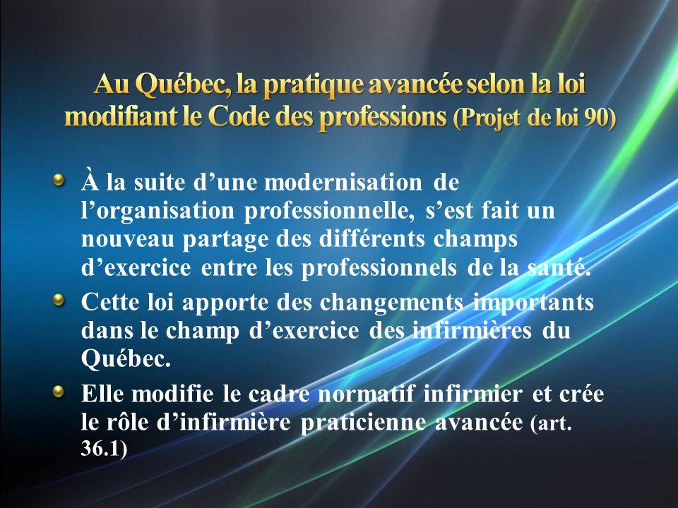 Au Québec, la pratique avancée selon la loi modifiant le Code des professions (Projet de loi 90)