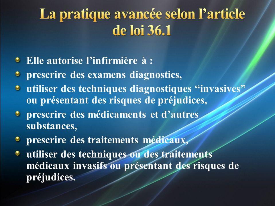 La pratique avancée selon l'article de loi 36.1