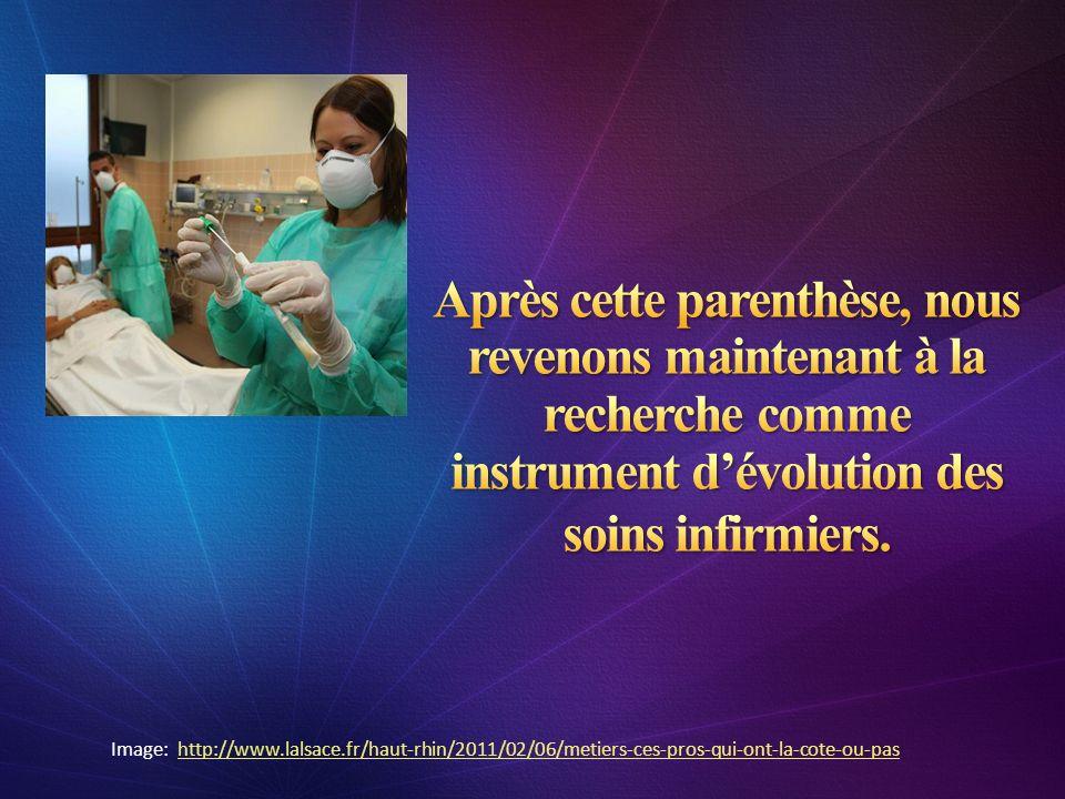 Après cette parenthèse, nous revenons maintenant à la recherche comme instrument d'évolution des soins infirmiers.