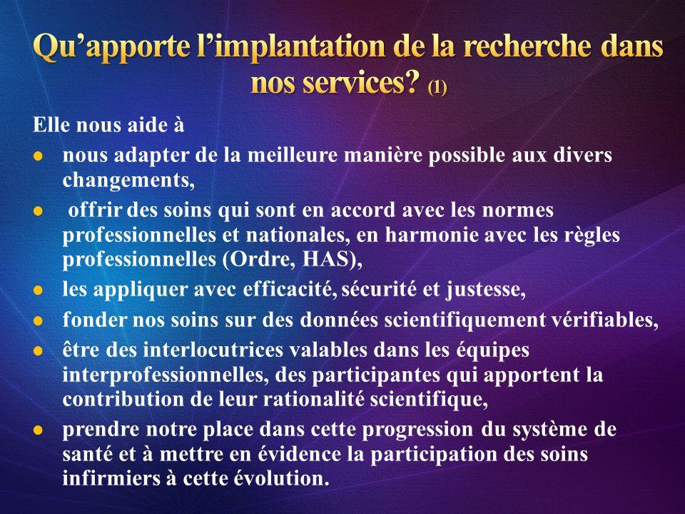 Qu'apporte l'implantation de la recherche dans nos services (1)