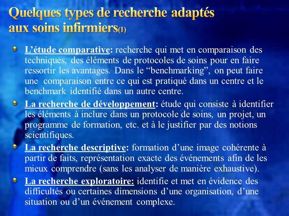 Quelques types de recherche adaptés aux soins infirmiers(1)