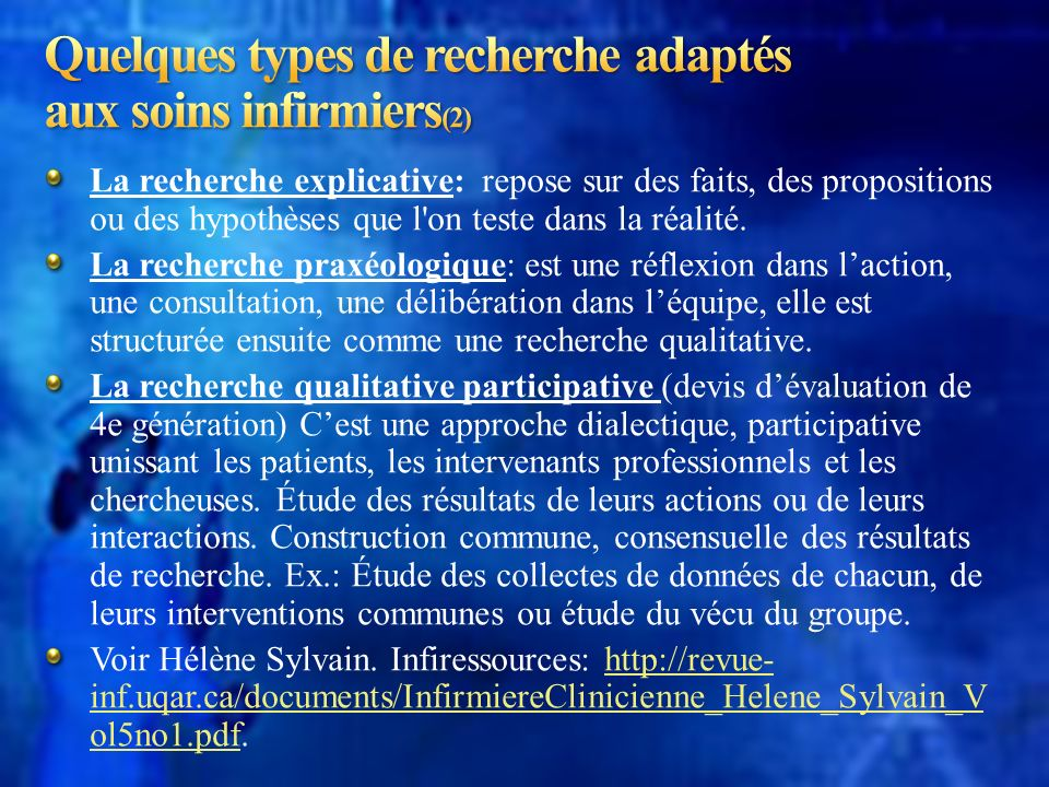 Quelques types de recherche adaptés aux soins infirmiers(2)