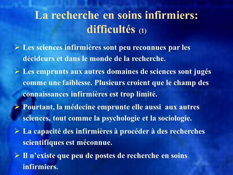 La recherche en soins infirmiers: difficultés (1)