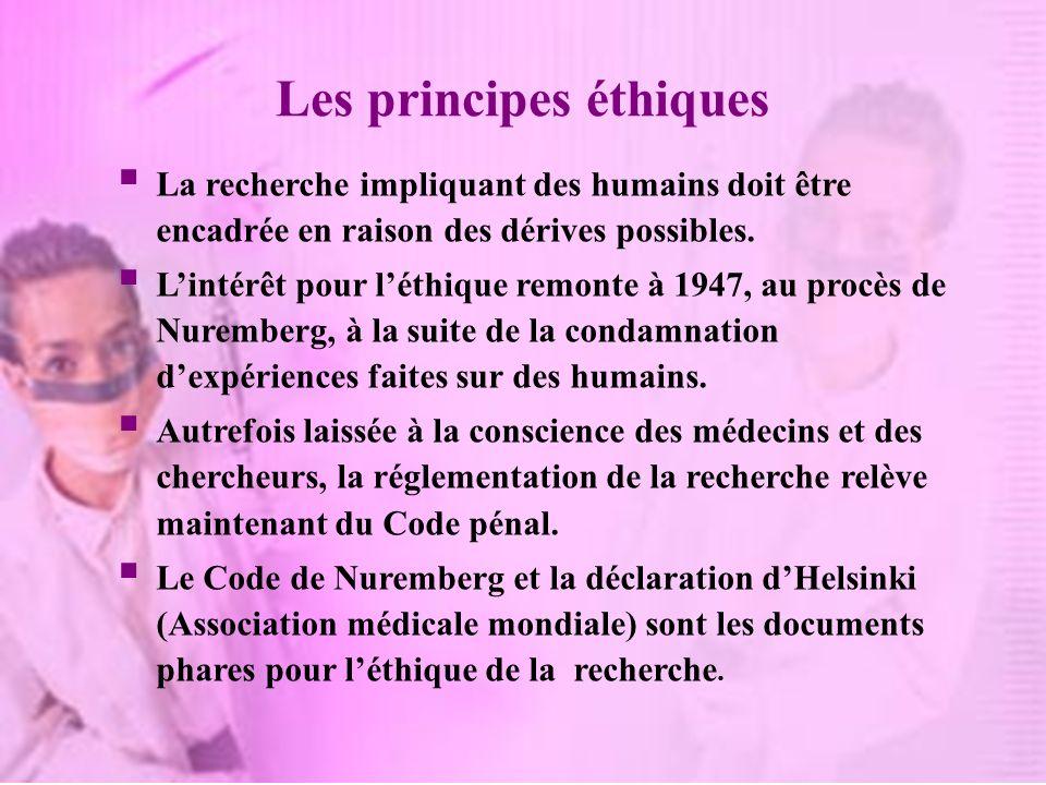 Les principes éthiques