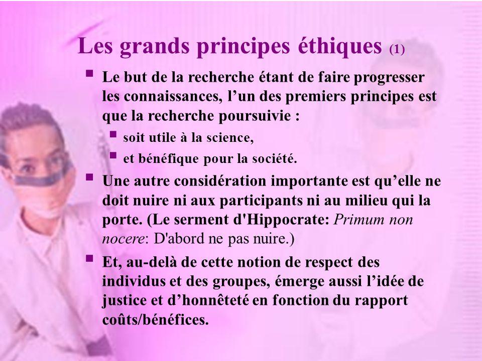 Les grands principes éthiques (1)