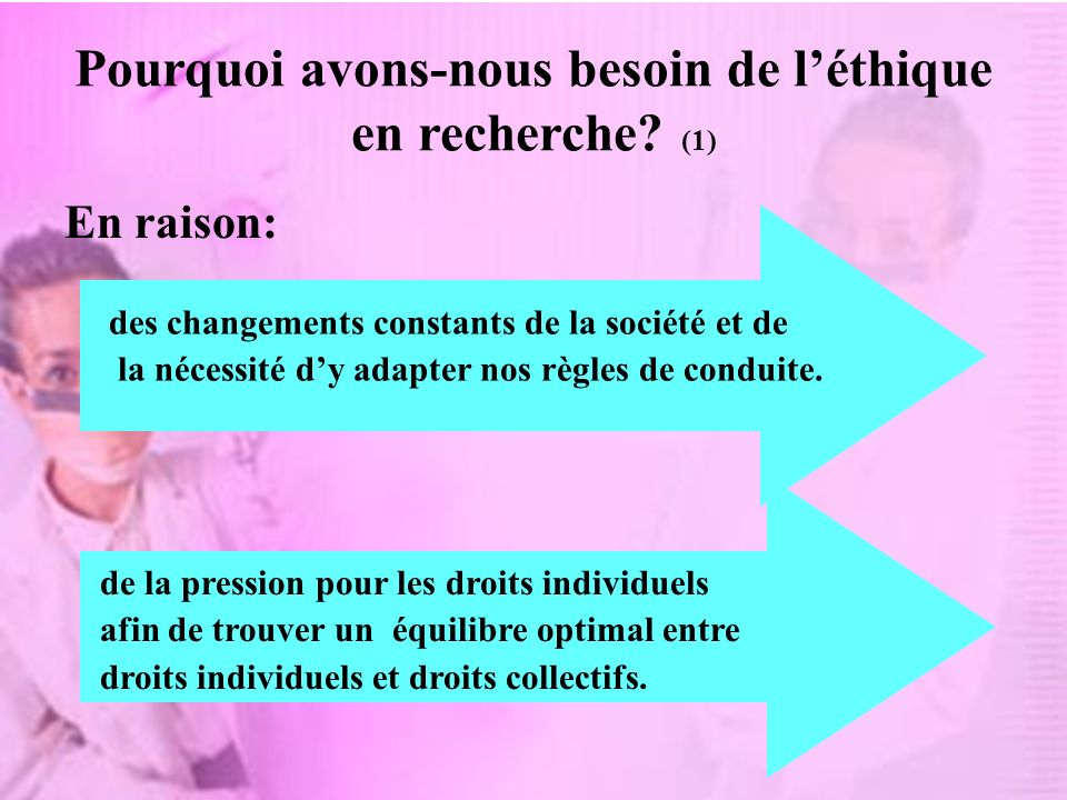 Pourquoi avons-nous besoin de l'éthique en recherche (1)