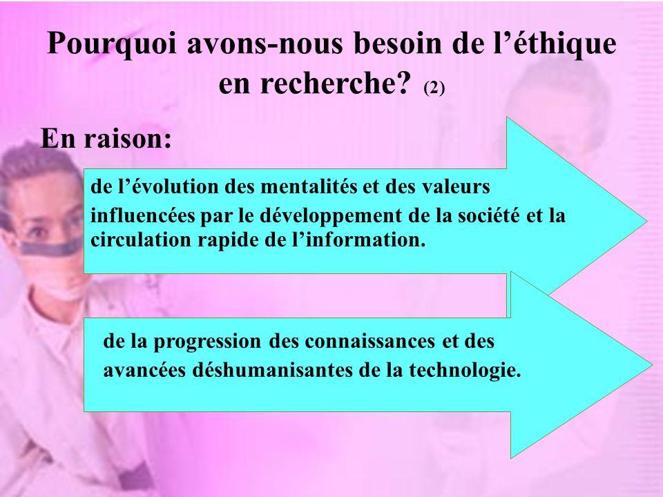 Pourquoi avons-nous besoin de l'éthique en recherche (2)