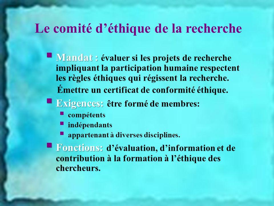 Le comité d'éthique de la recherche