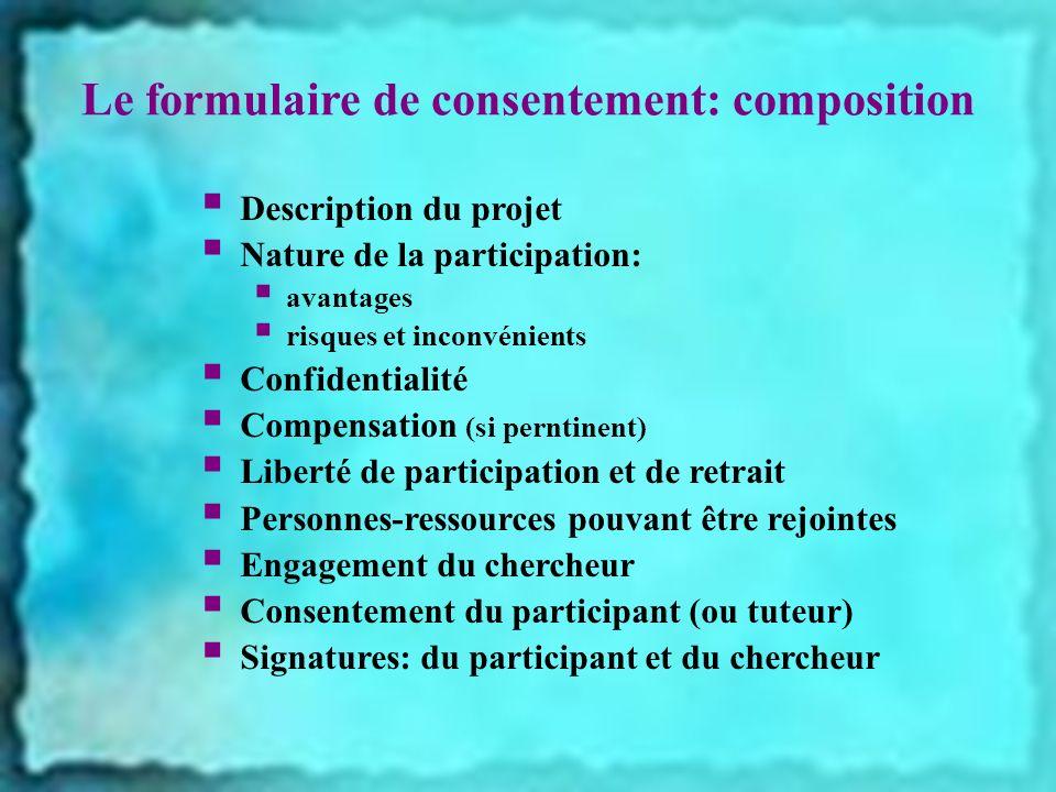 Le formulaire de consentement: composition