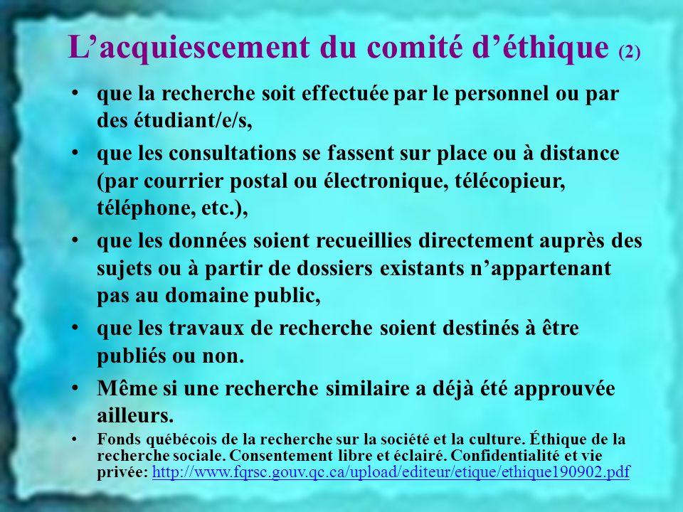 L'acquiescement du comité d'éthique (2)