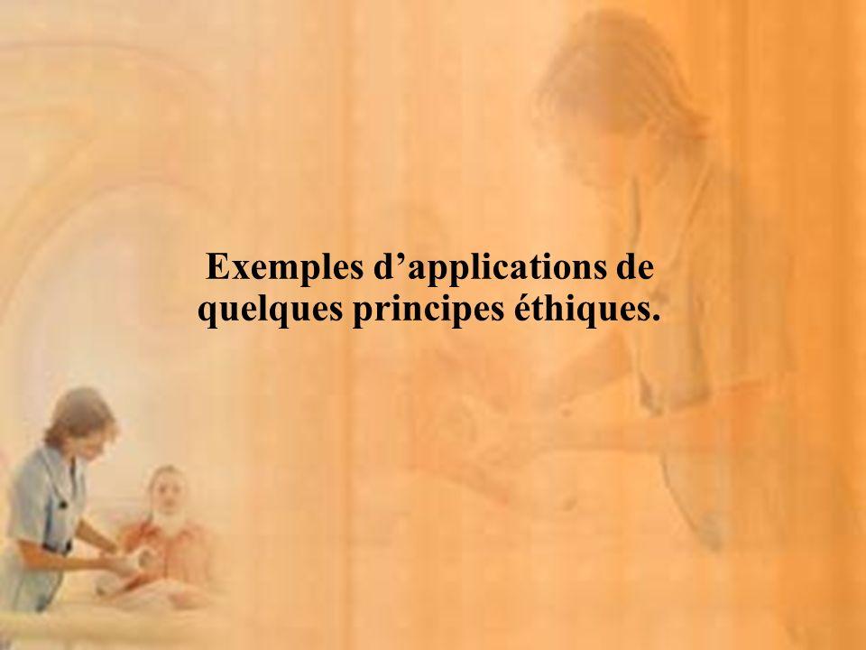Exemples d'applications de quelques principes éthiques.