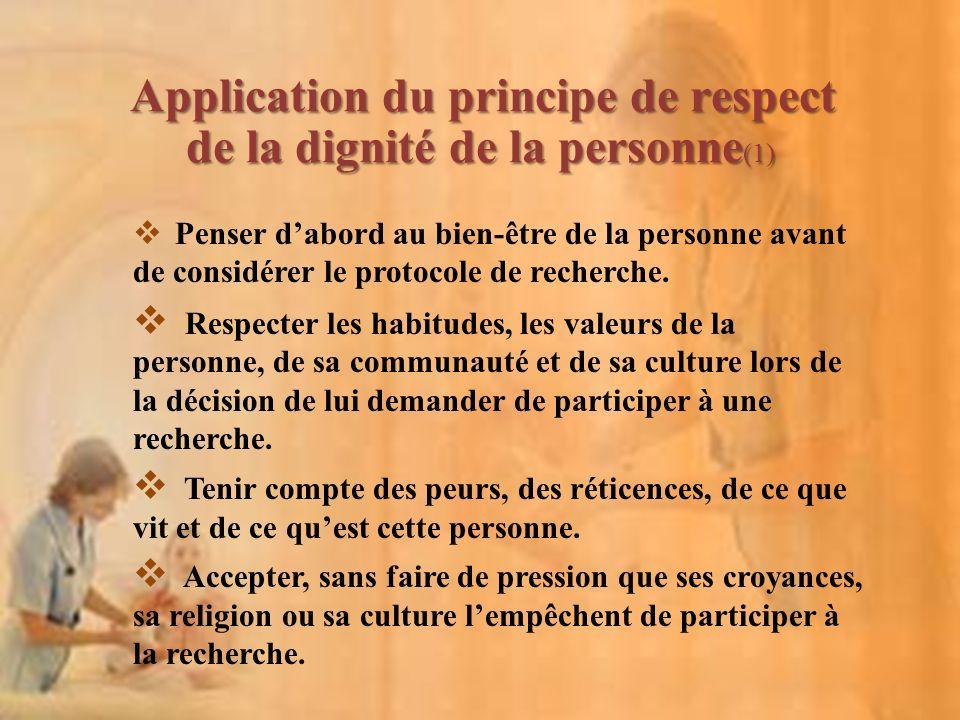 Application du principe de respect de la dignité de la personne(1)