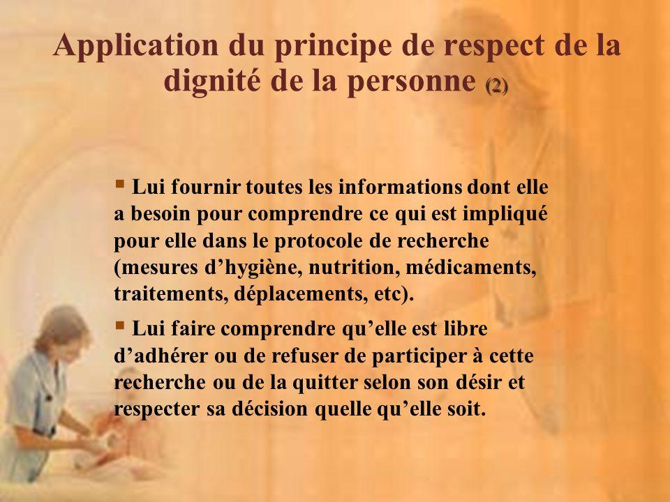 Application du principe de respect de la dignité de la personne (2)
