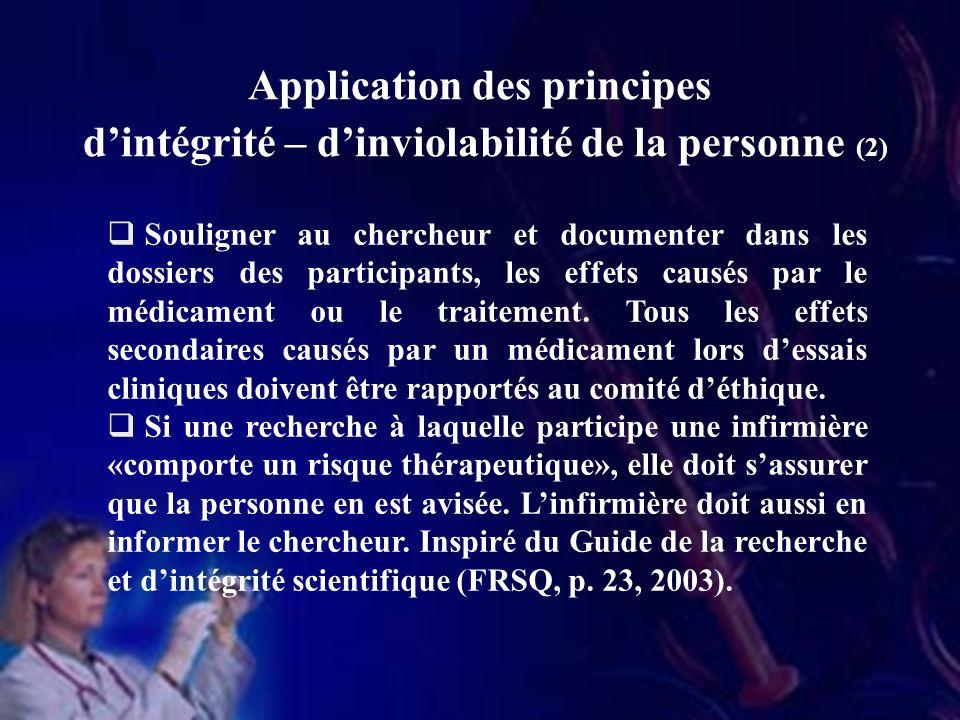 Application des principes d'intégrité – d'inviolabilité de la personne (2)