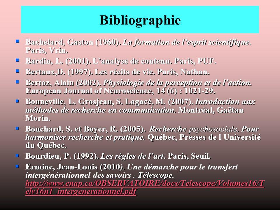 Bibliographie Bachelard, Gaston (1960). La formation de l'esprit scientifique. Paris, Vrin. Bardin, L. (2001). L'analyse de contenu. Paris, PUF.