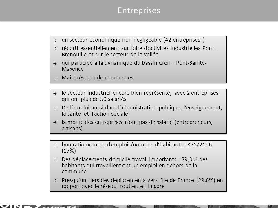 Entreprises un secteur économique non négligeable (42 entreprises )
