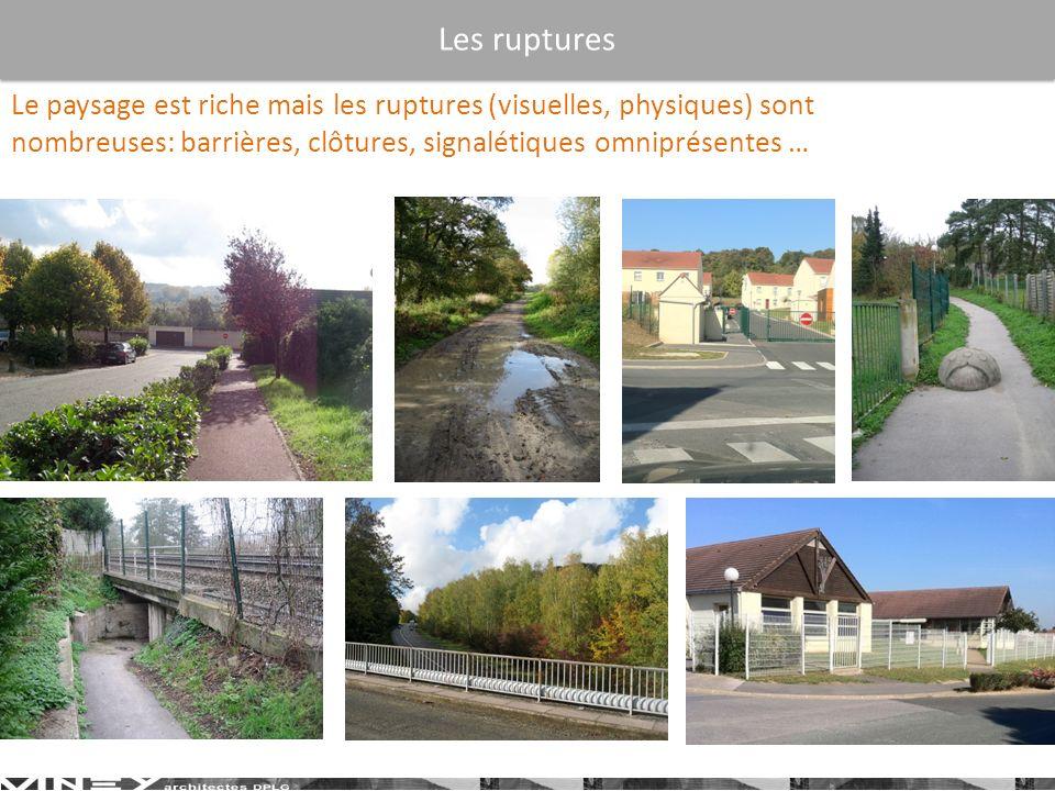 Les ruptures Le paysage est riche mais les ruptures (visuelles, physiques) sont nombreuses: barrières, clôtures, signalétiques omniprésentes …