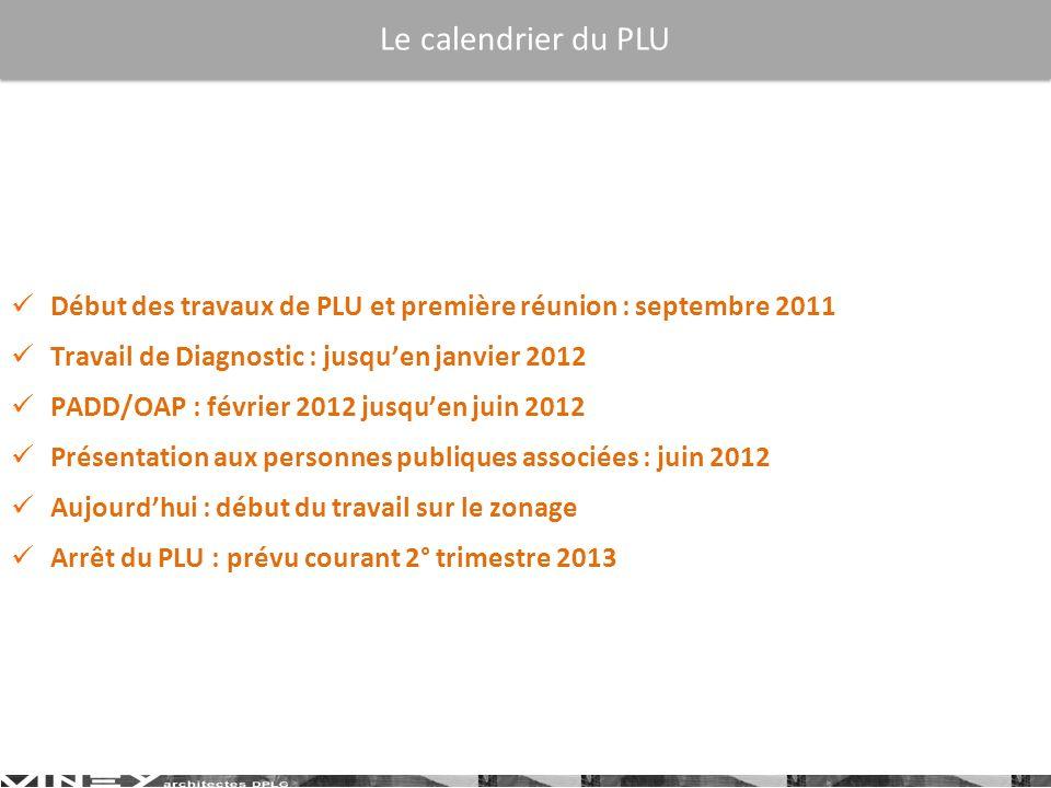 Le calendrier du PLU Début des travaux de PLU et première réunion : septembre 2011. Travail de Diagnostic : jusqu'en janvier 2012.
