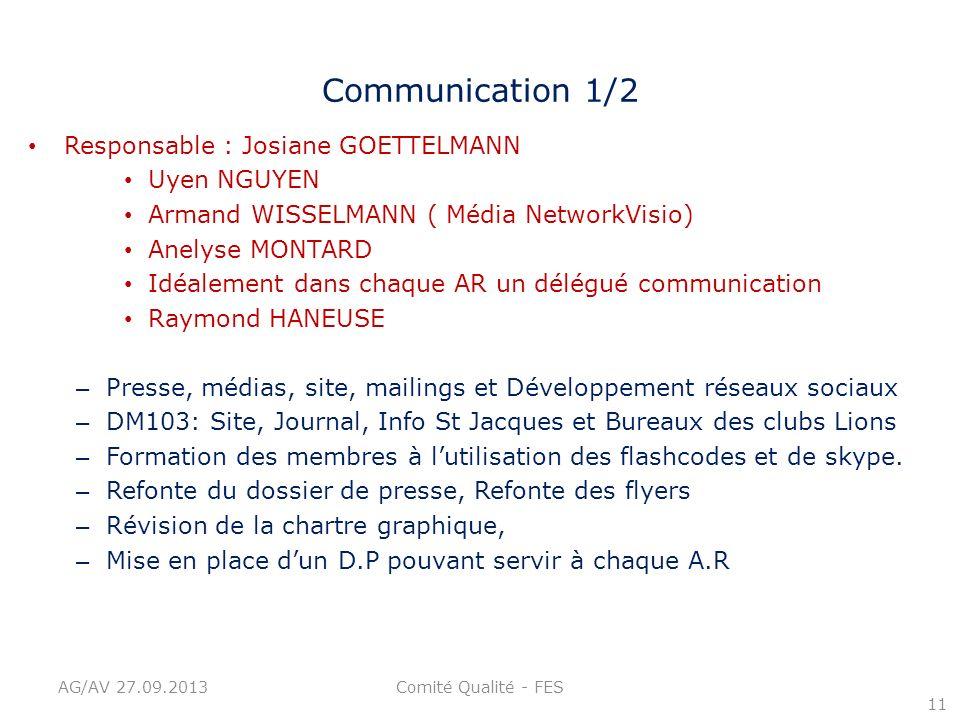 Communication 1/2 Responsable : Josiane GOETTELMANN Uyen NGUYEN