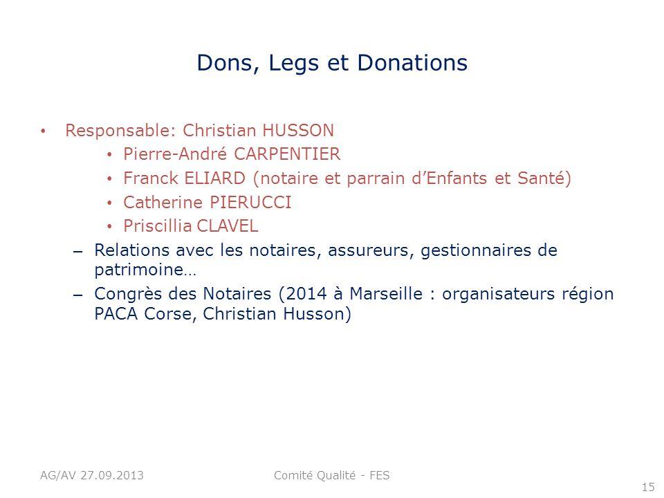 Dons, Legs et Donations Responsable: Christian HUSSON