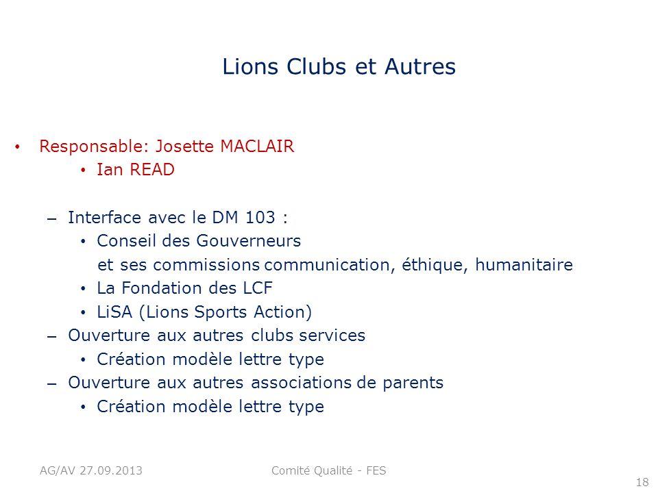 Lions Clubs et Autres Responsable: Josette MACLAIR Ian READ