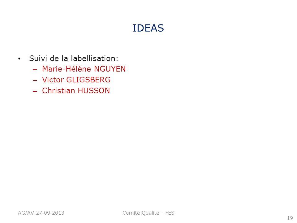 IDEAS Suivi de la labellisation: Marie-Hélène NGUYEN Victor GLIGSBERG