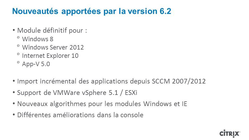 Nouveautés apportées par la version 6.2