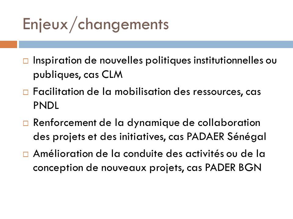 Enjeux/changements Inspiration de nouvelles politiques institutionnelles ou publiques, cas CLM.