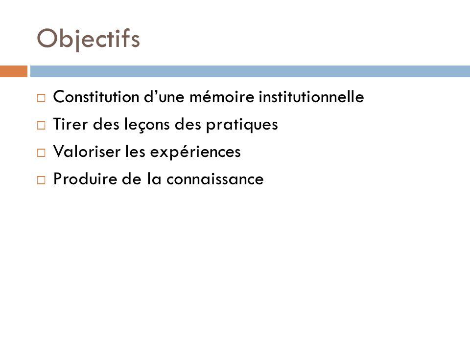 Objectifs Constitution d'une mémoire institutionnelle
