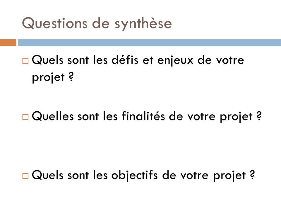 Questions de synthèse Quels sont les défis et enjeux de votre projet