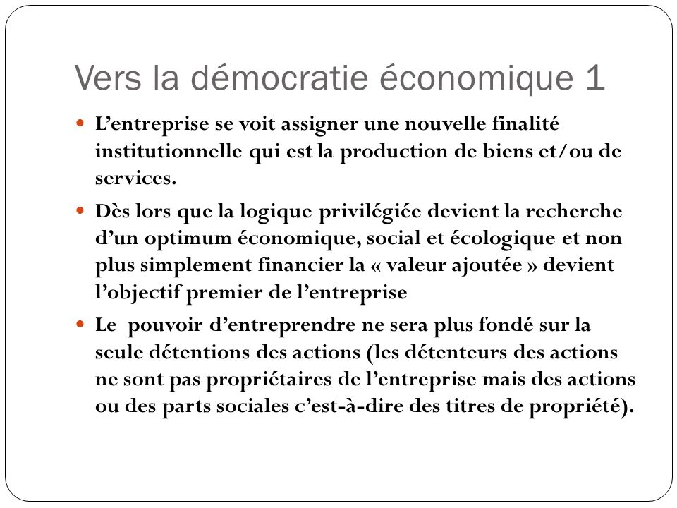 Vers la démocratie économique 1