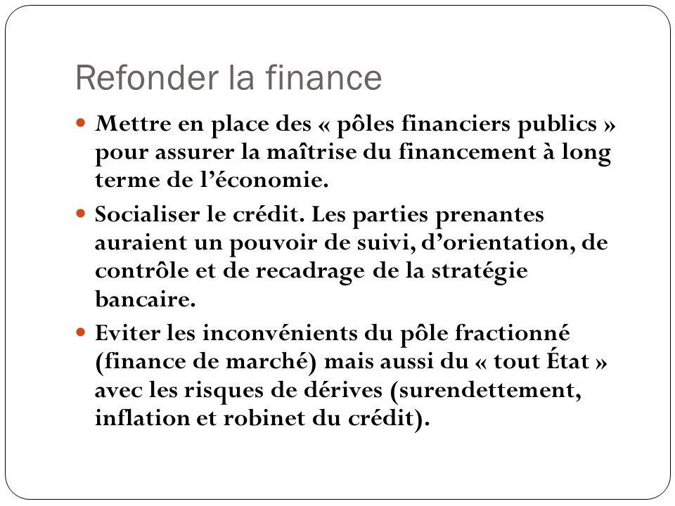 Refonder la finance Mettre en place des « pôles financiers publics » pour assurer la maîtrise du financement à long terme de l'économie.